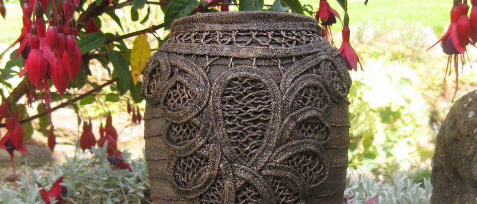 Large Bronze Swiril Lace Vase